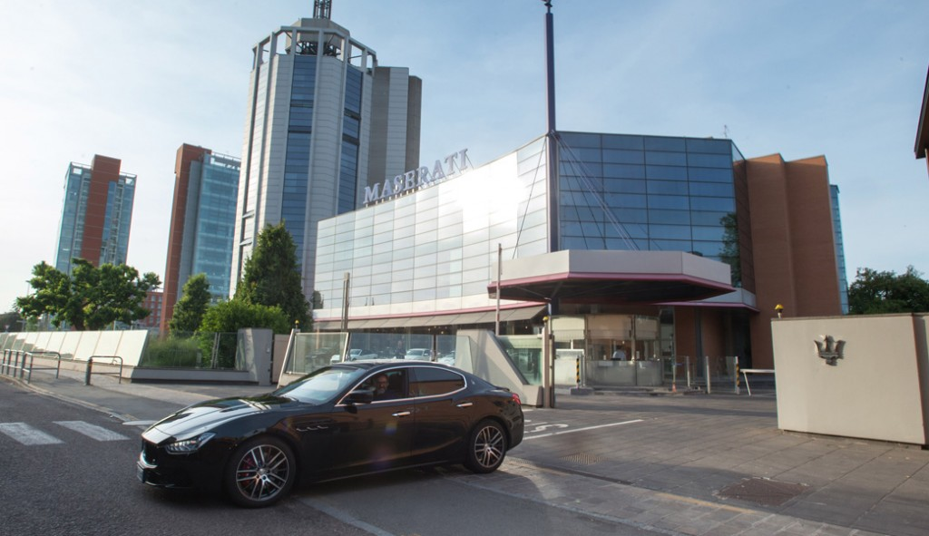 Massimo-Bottura-leaving-Maserati-Head-Quarter-on-board-of-his-new-Masera...