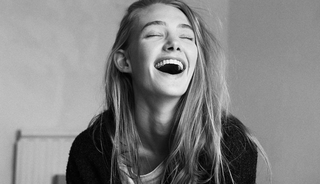 Laughing-Girl-Black-and-White